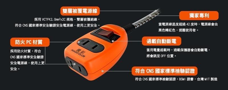 魔彩安全變色延長線 (火災預防) 1開/2座插接器 長度:1.8M