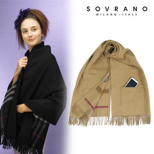 韓國格紋口袋披肩秋冬保暖圍巾