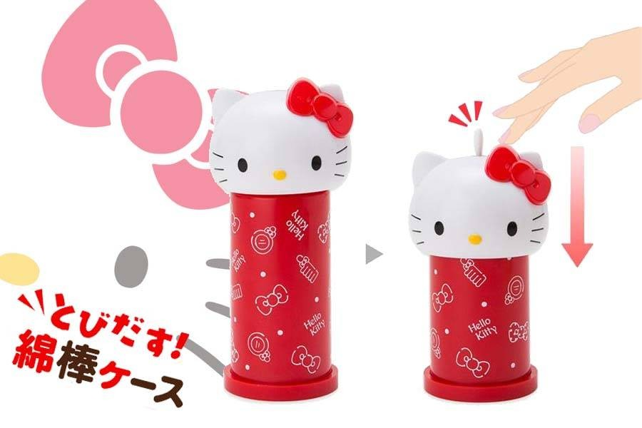 SANRIO日本正版商品 HELLO KITTY .蛋黃哥.布丁狗.造型按壓式棉花棒罐
