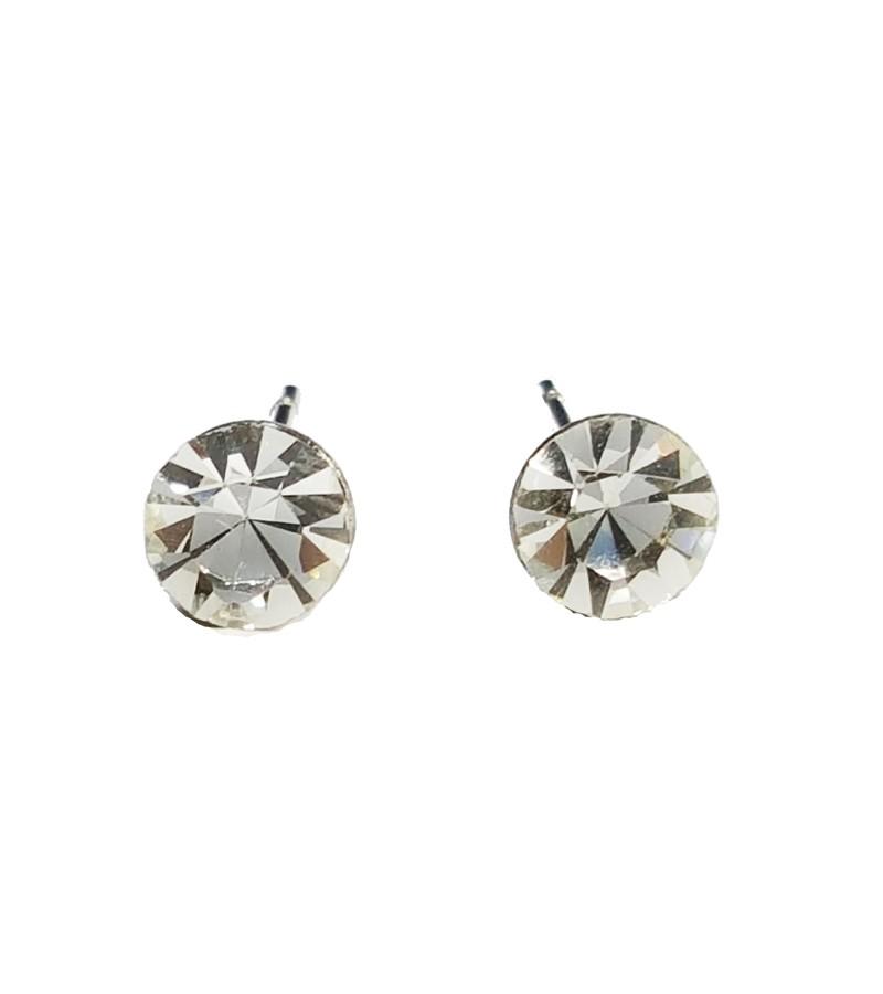 極簡風格單鑽不銹鋼耳環