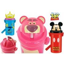 迪士尼米奇 玩具總動員三眼怪 熊抱哥 立體造型吸管水壺500ML