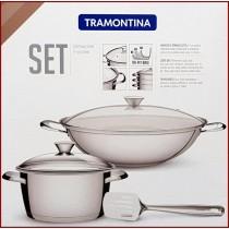 周年慶 特殺~巴西百年專業鍋具TRAMONTINA不鏽鋼鍋具3件禮盒組