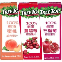 TREE TOP 樹頂100%綜合果汁 利樂包200ML 共48瓶/2箱【任選水蜜桃、蔓越莓、石榴2箱免運組】