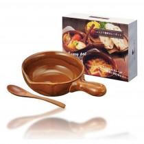 內海產業 陶器鍋附木湯匙(約21X15X5CM)